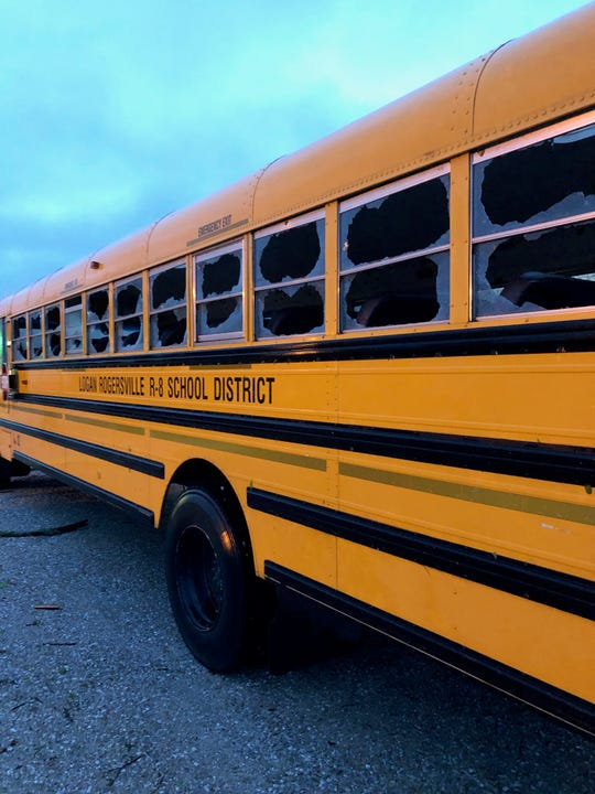 Nine buses in the Logan-Rogersville school district were damaged by the Tuesday storm.