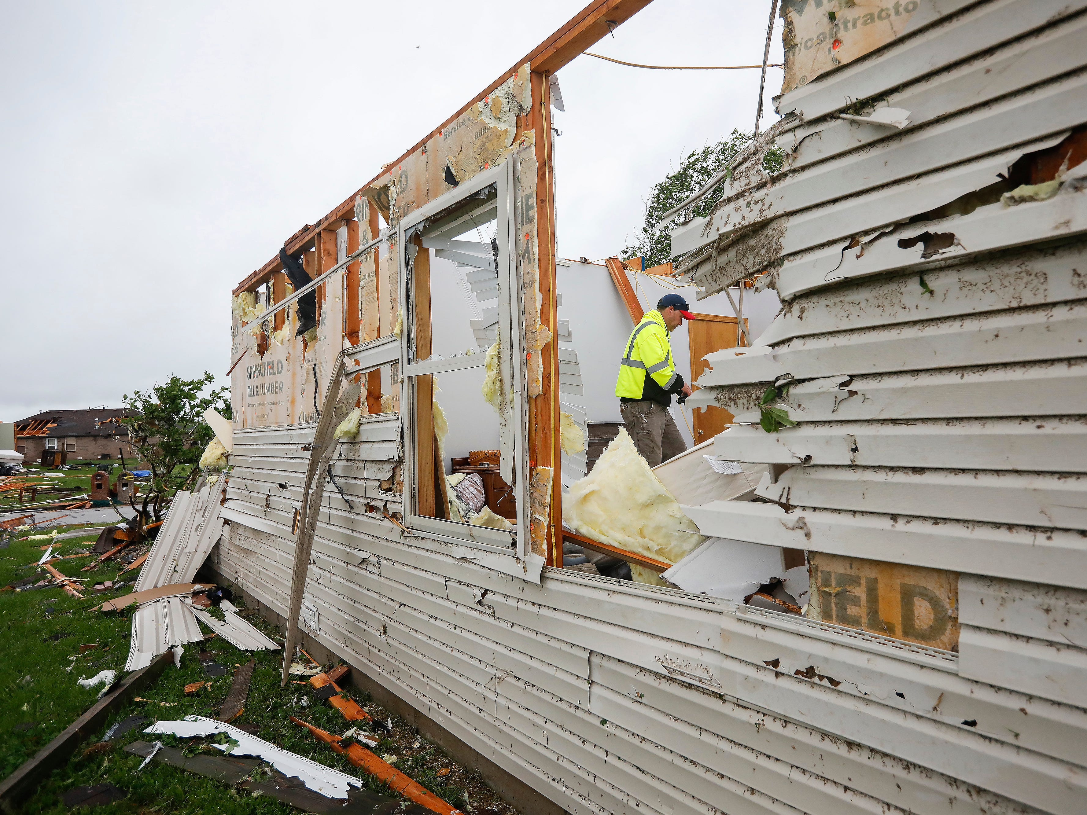Homes in the Waterford neighborhood were damaged by a likely tornado moved through the Ozark on Tuesday April 30, 2019.