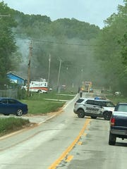 Smoke can be seen coming from Papouli's in Reeds Spring on Wednesday, May 1, 2019.