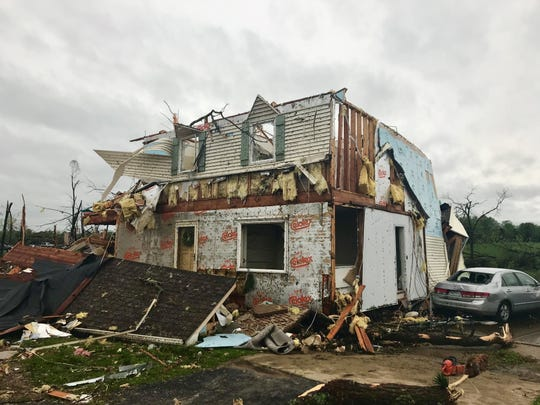 A home on Farm Road 213 in Rogersville was damaged by the storms on Tuesday, April 30, 2019.