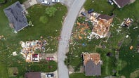Drone footage of storm damage from likely tornado in Ozark