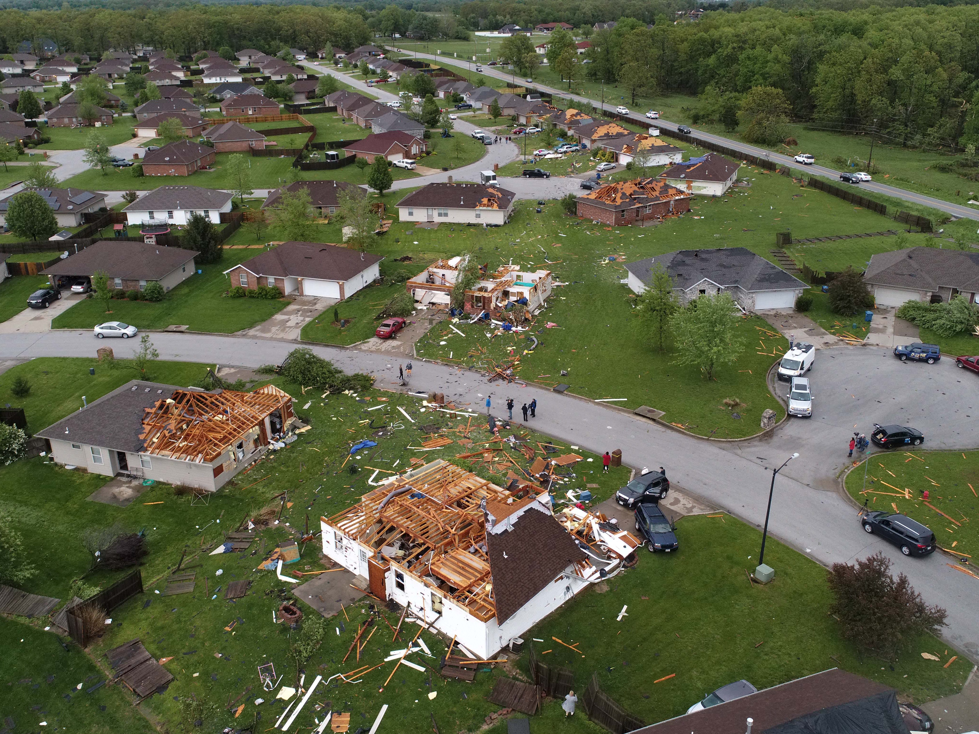 Aerial photos of storm damage from likely tornado in Ozark