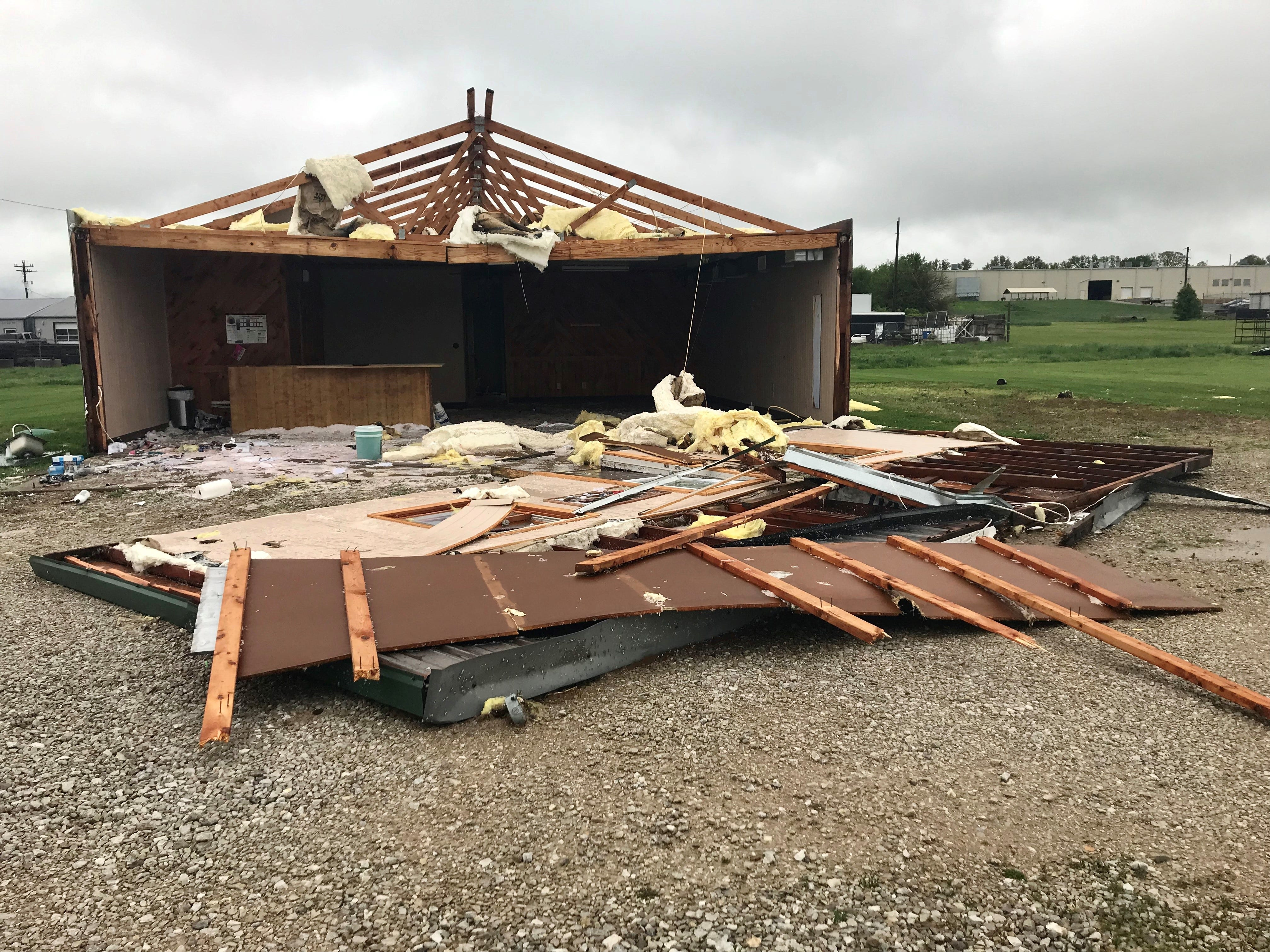 A building on Endeavor Drive in Rogersville was damaged by the storms on Tuesday, April 30, 2019.