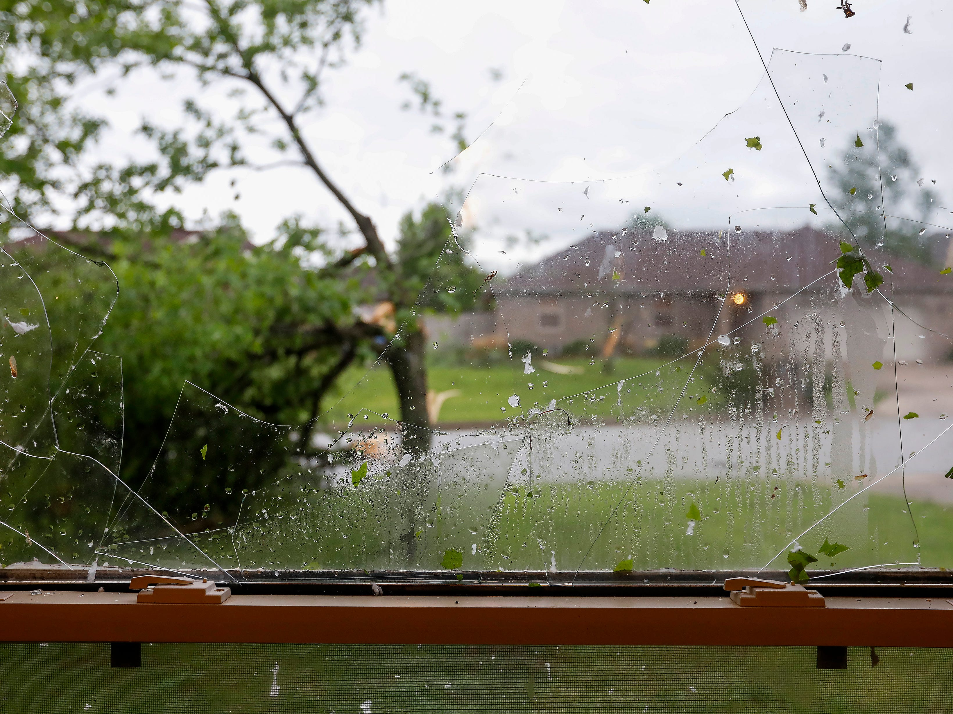 The window in Steve and Kay Byard's home was broken during a likely tornado that hit Ozark on Tuesday, April 30, 2019.