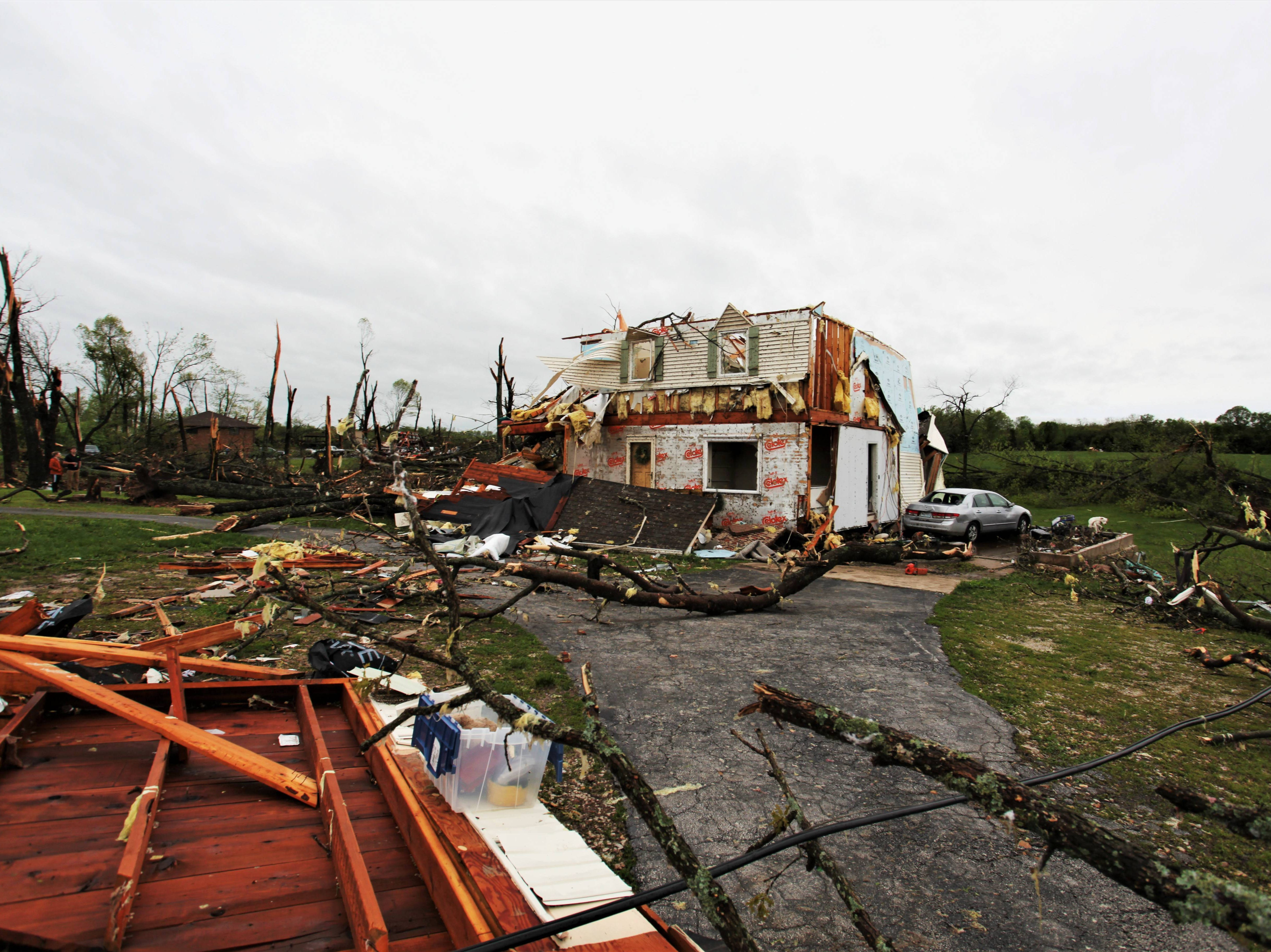 Scenes of storm damage along Farm Road 213 in Rogersville Wednesday, May 1, 2019.