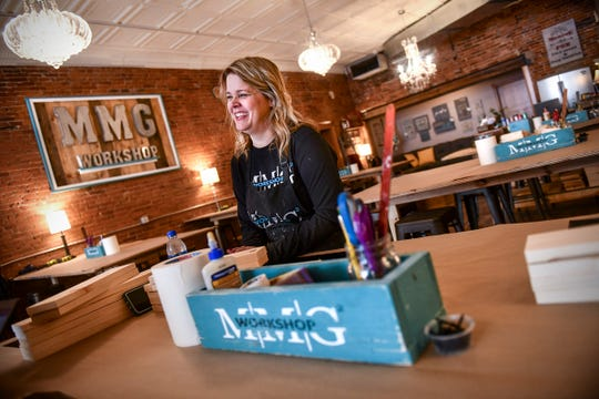Jen Monroe talks about her business, MMG² Workshop, during an interview Wednesday, May 1, in downtown St. Cloud.