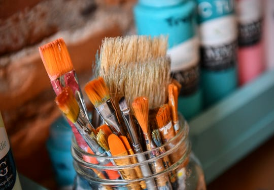 Brushes are ready for use Wednesday, May 1, at  MMG² Workshop in downtown St. Cloud.