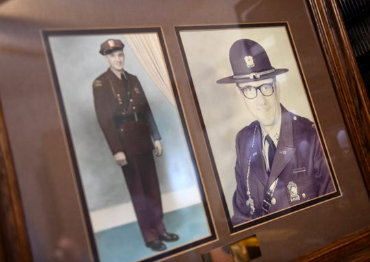 Photos of Walt Kosel at the beginning and end of his service as a state trooper are on display at his home in Waite Park.