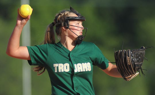 Lincoln freshman Gwen McGinnis throws to first after a ground ball as Lincoln beat Leon 11-1 in six innings during a District 2-8A semifinal softball game on Tuesday, April 30, 2019.