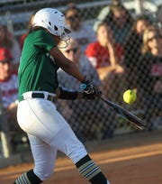 Lincoln's Alexis Brown laces a hit as Lincoln beat Leon 11-1 in six innings during a District 2-8A semifinal softball game on Tuesday, April 30, 2019.