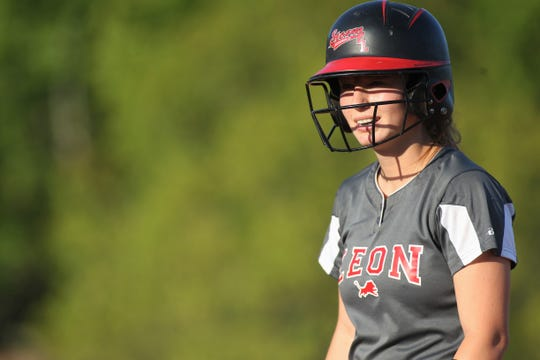 Leon junior Regan Hermeling was 2 for 2 as Lincoln beat Leon 11-1 in six innings during a District 2-8A semifinal softball game on Tuesday, April 30, 2019.