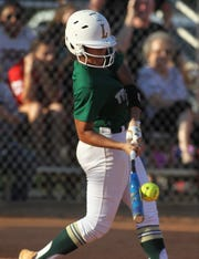 Lincoln sophomore Angelique Mann times up one of her two hits as Lincoln beat Leon 11-1 in six innings during a District 2-8A semifinal softball game on Tuesday, April 30, 2019.