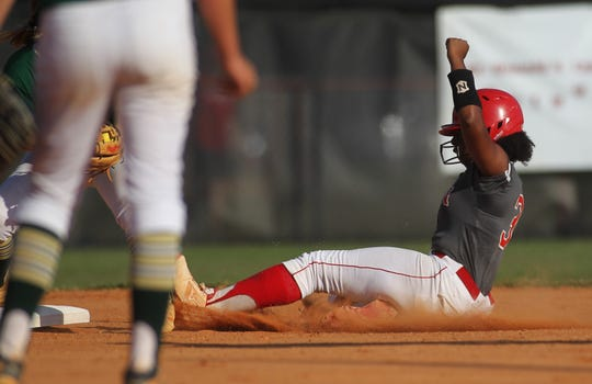 Leon senior Mikayla Smith hustles into second base with a double as Lincoln beat Leon 11-1 in six innings during a District 2-8A semifinal softball game on Tuesday, April 30, 2019.