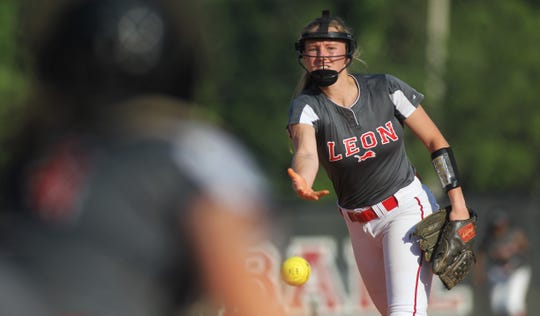 Leon junior Regan Hermeling pitches as Lincoln beat Leon 11-1 in six innings during a District 2-8A semifinal softball game on Tuesday, April 30, 2019.