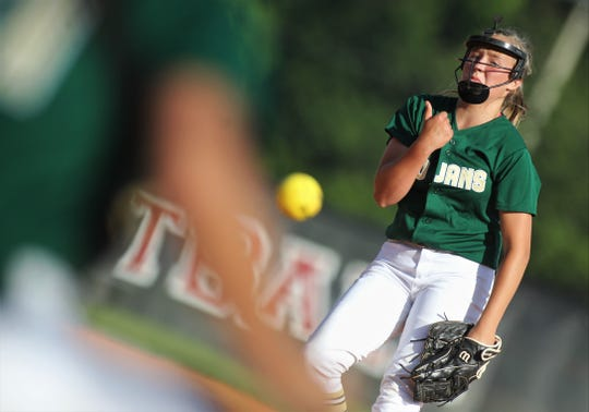 Lincoln freshman Gwen McGinnis pitches as Lincoln beat Leon 11-1 in six innings during a District 2-8A semifinal softball game on Tuesday, April 30, 2019.
