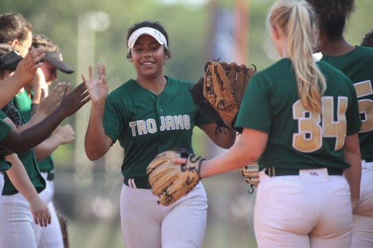 Lincoln sophomore Angelique Mann is introduced before the game as Lincoln beat Leon 11-1 in six innings during a District 2-8A semifinal softball game on Tuesday, April 30, 2019.