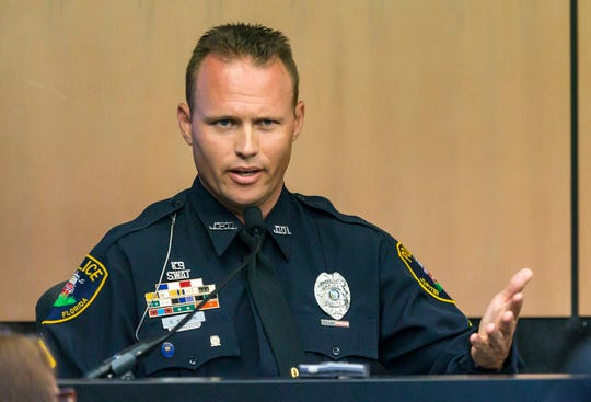 Jupiter police officer Scott Kimbark testifies during a motion hearing in New England Patriots owner Robert Kraft prostitution solicitation case, Wednesday, May 1, 2019, in West Palm Beach, Fla. Kimbark stopped the car containing Kraft. Kraft's attorneys argue that undercover surveillance videos allegedly showing their client paying for sex at a Jupiter day spa should be ruled inadmissible and the evidence thrown out.