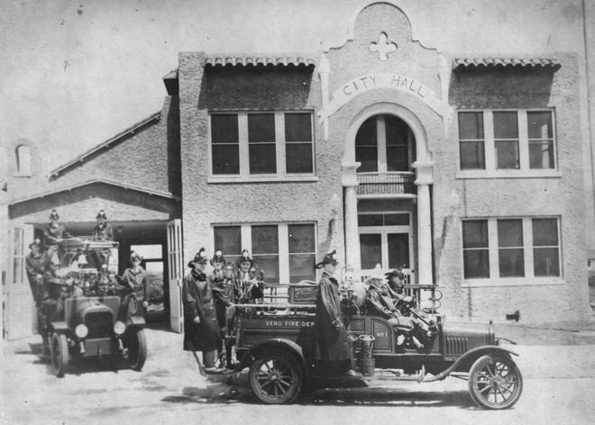 The first fire station in Vero Beach, circa 1928. The station was located on the northeast corner of 13th Avenue and 20th Street, adjacent to City Hall. The volunteer force pictured here is in full attire. Included in photo are Paul Beindorf, Charlie Tool, Harold Redstone, and Slim Stansberry.