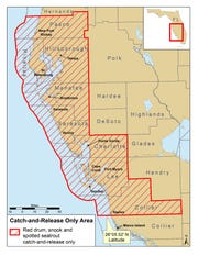 This is the zone affected in 2018 by red tide fish kills and will now have a prohibition on recreational harvest of snook, redfish and trout until May 31, 2020.