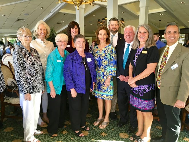 Mariner Sands Charity Week recipients, from left, Sister Kate Kinnaly of KinDoo Family Center; DeDe Brooks, board chairperson, Boys & Girls Clubs of Martin County; Sister Mary Dooley, president, KinDoo Family Center; Tracy Levy, development director of SafeSpace; Sister Elizabeth Dunn, president of Hope Rural School; Brenda Dickerson, president of Love and Hope in Action; Fletch Fletcher, managing director of Boys & Girls Clubs of Martin County; Michael Kenny, executive director of Library Foundation of Martin County; Yvette Gregory of Love and Hope in Action; and Rob Ranieri, CEO of House of Hope.