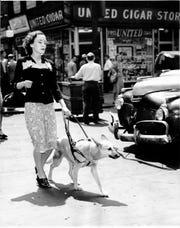 Anita Blair and her seeing-eye dog Fawn.