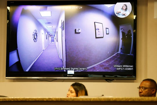 Footage from a new El Paso Police Department body camera plays during a City Council meeting on Tuesday, April 30, 2019.