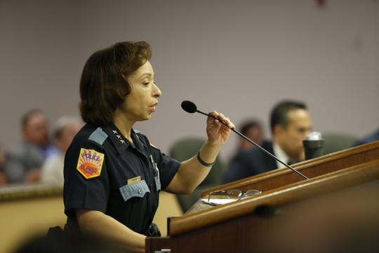 Zina Silva, an El Paso Police Department assistant police chief, tells the City Council on Tuesday, April 30, 2019, that 34 body cameras were bought for police officers.