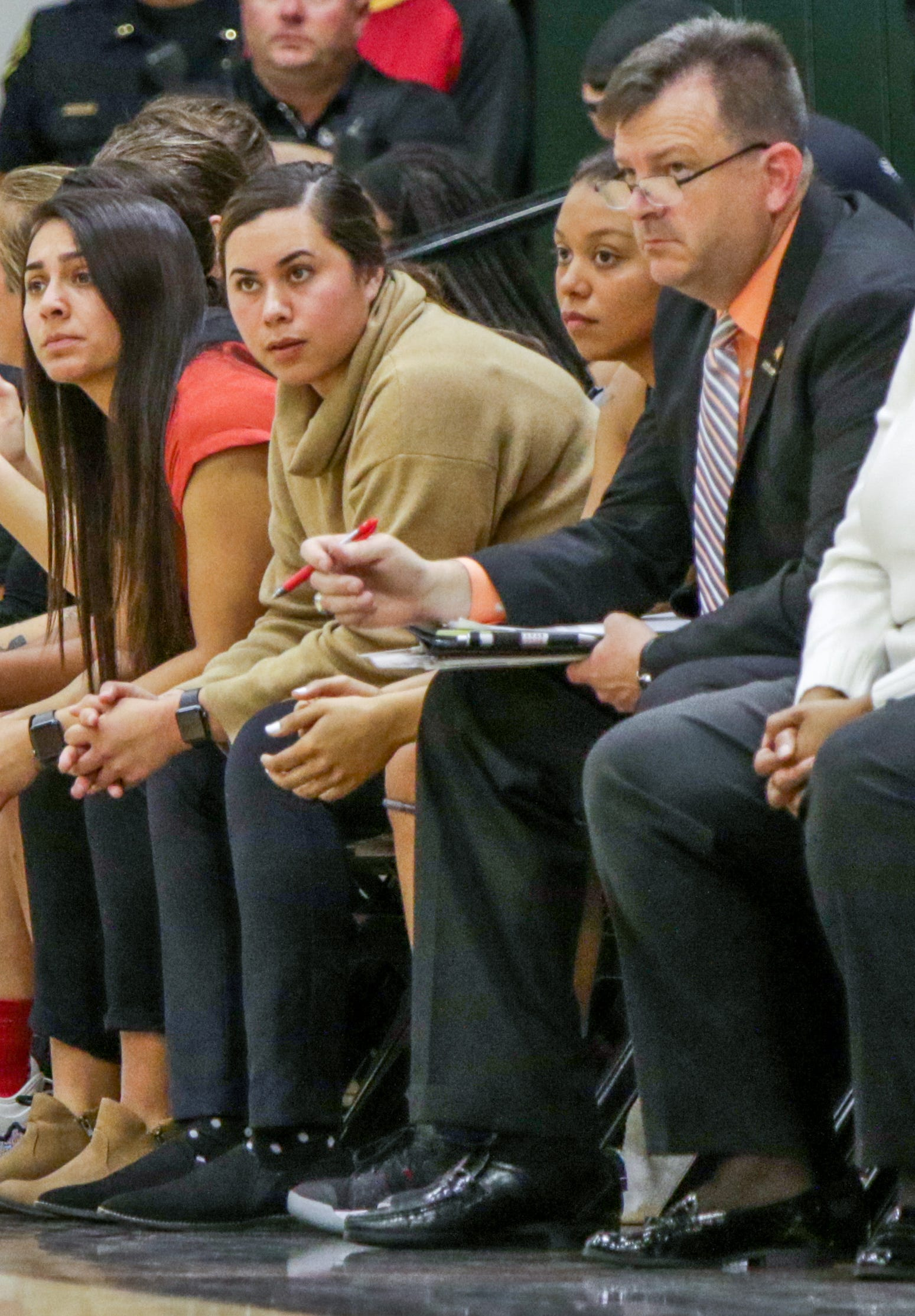 Cynthia Hernandez, center, hired as Buena High girls basketball coach on Tuesday, was an assistant coach at Ventura College the last two seasons.