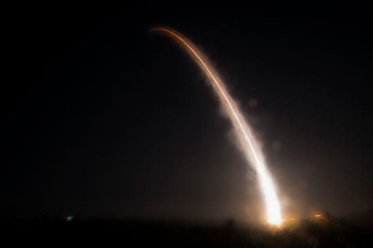 This photo provided by Vandenberg Air Force Base shows an unarmed Minuteman III intercontinental ballistic missile launches during an operational test on Wednesday at the base in Santa Barbara County.