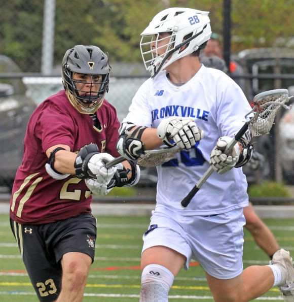 Iona Prep's Jack Cleary (23) guards Bronxville's Henry Donohue (28) during boys lacrosse game at Bronxville High School April 30, 2019. Iona Prep defeats Bronxville 16-6.