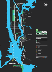 The 40-mile bike tour starts in Lower Manhattan and ends in Staten Island.