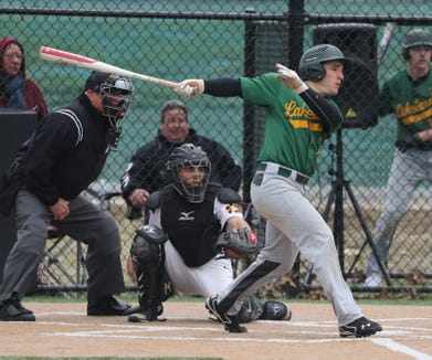Evan Berta of Lakeland bats against Walter Panas during a varsity baseball game in Mohegan Lake May 1, 2019. Lakeland defeated Panas 6-0.