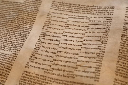 A detail of the second Holocaust Torah at Beth Am Temple in Pearl River May 1, 2019. The Torah was at Rabbi Daniel Pernick's father-in-law's synagogue in Boston before arriving in New York.
