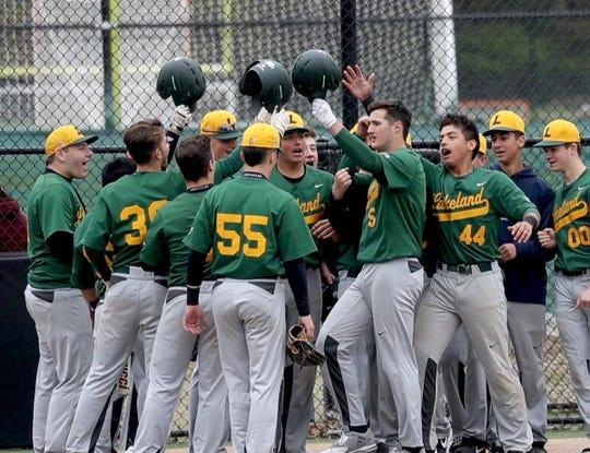 Joey Vetrano of Lakeland is congratulated by teammates after hitting a three run home run Walter Panas during a varsity baseball game in Mohegan Lake May 1, 2019. Vetrano pitched 3 2/3 shutout innings while hitting a double and a three run home run as Lakeland defeated Panas 6-0.