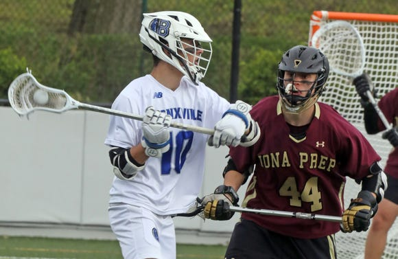 Iona Prep's (44) guards Bronxville's Luke Doukas (10) during boys lacrosse game at Bronxville High School April 30, 2019. Iona Prep defeats Bronxville 16-6.