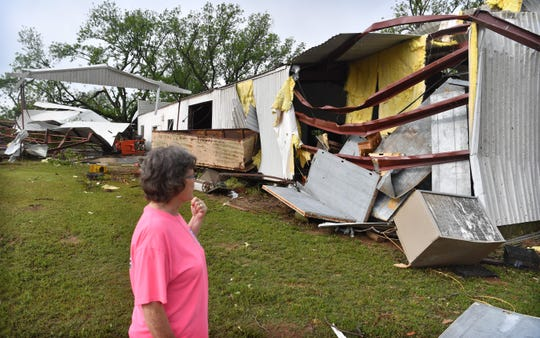 Many of the structures at Jetton Farms were destroyed by a tornado that hit Charlie, Texas late Tuesday. Toni Jetton said they were lucky because it didn't hit their home next door and no one was hurt.