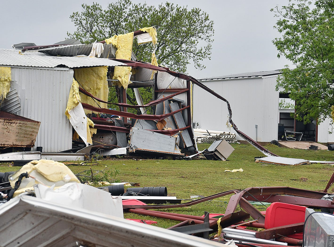 Most of the farm buildings at Jetton Farms in Charlie, Texas were destroyed when a tornado struck the small farming community Tuesday evening.