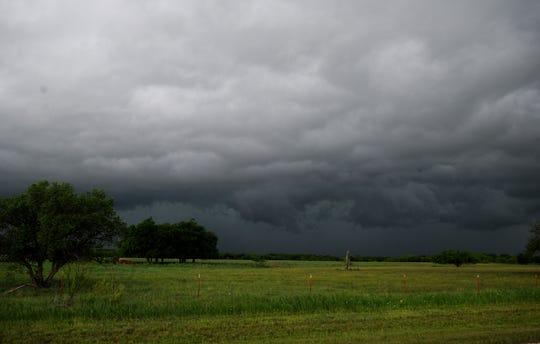 Storm clouds Tuesday, April 30, 2019, near Charlie, Texas.
