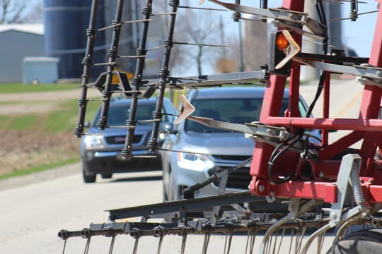"""Following farm machinery too closely results in many """"close calls"""" or even accidents."""
