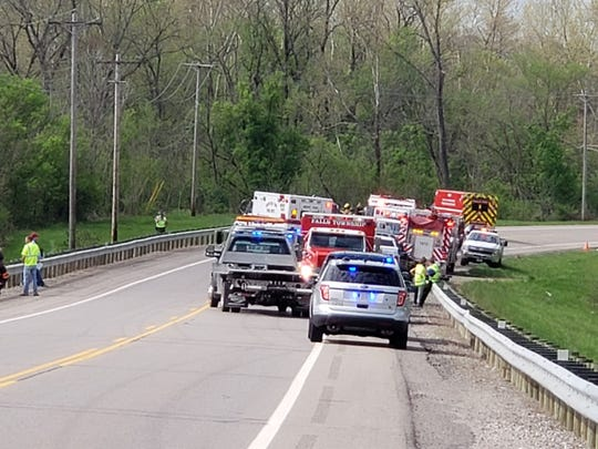Emergency crews continue to work on a accident on Maysville Pike.