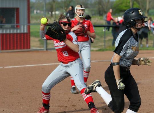 Sheridan's Sheridan Sullivan fields a grounder against Tri-Valley. She will play softball for Mount Vernon Nazarene.