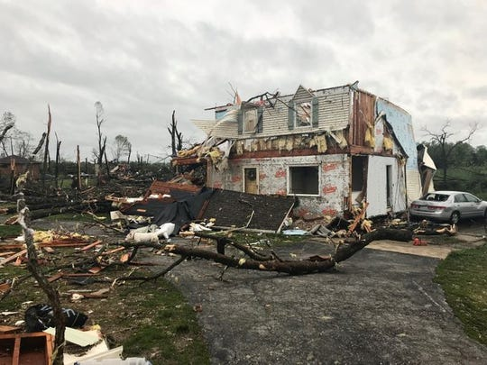 A home in Rogersville was damaged and moved several feet off its foundation by the storms on Tuesday, April 30, 2019.