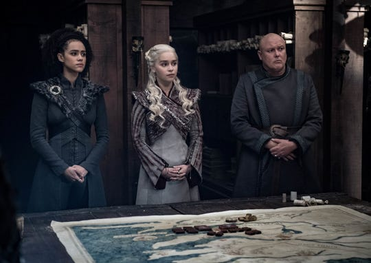 "Missandei (Nathalie Emmanuel), Dany (Emilia Clarke) and Varys (Conleth Hill) on ""Game of Thrones."""