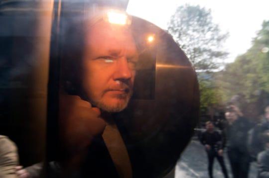 Wikileaks co-founder Julian Assange arrives at Southwark Crown Court in London, on May 1, 2019.