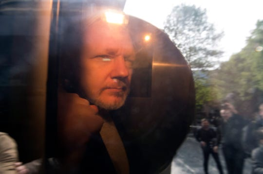 Wikileaks co-founder Julian Assange arrives at Southwark Crown Court in London, on May 1, 2019.