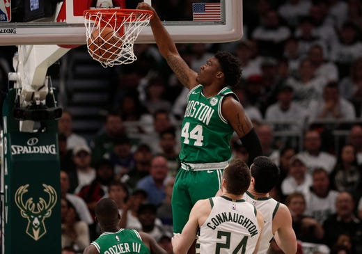 April 30: Celtics center Robert Williams III (44) throws down a dunk during the fourth quarter of Game 2 against the Bucks.