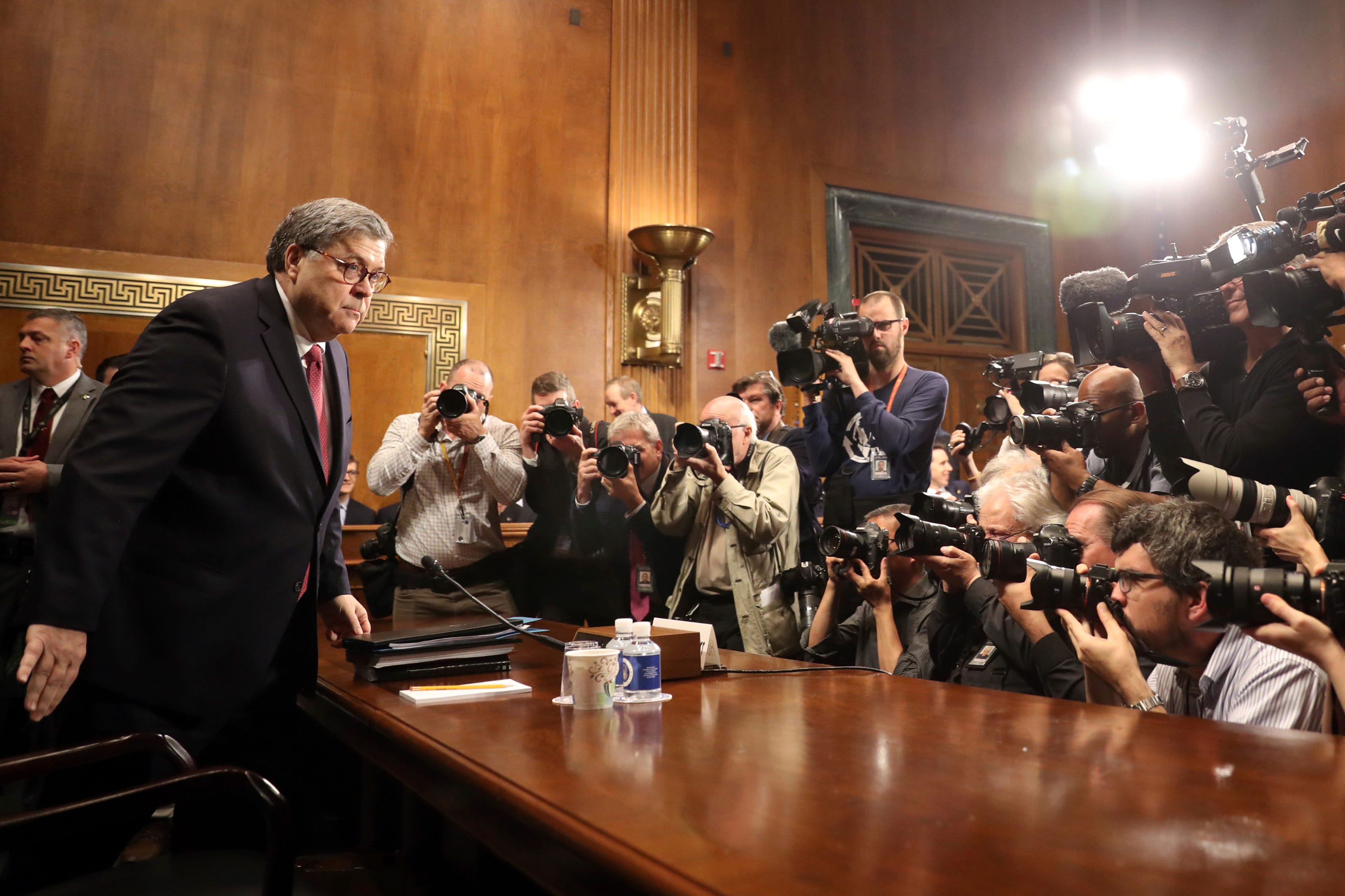 Attorney General William Barr arrives to testify during a Senate Judiciary Committee hearing on Capitol Hill in Washington.
