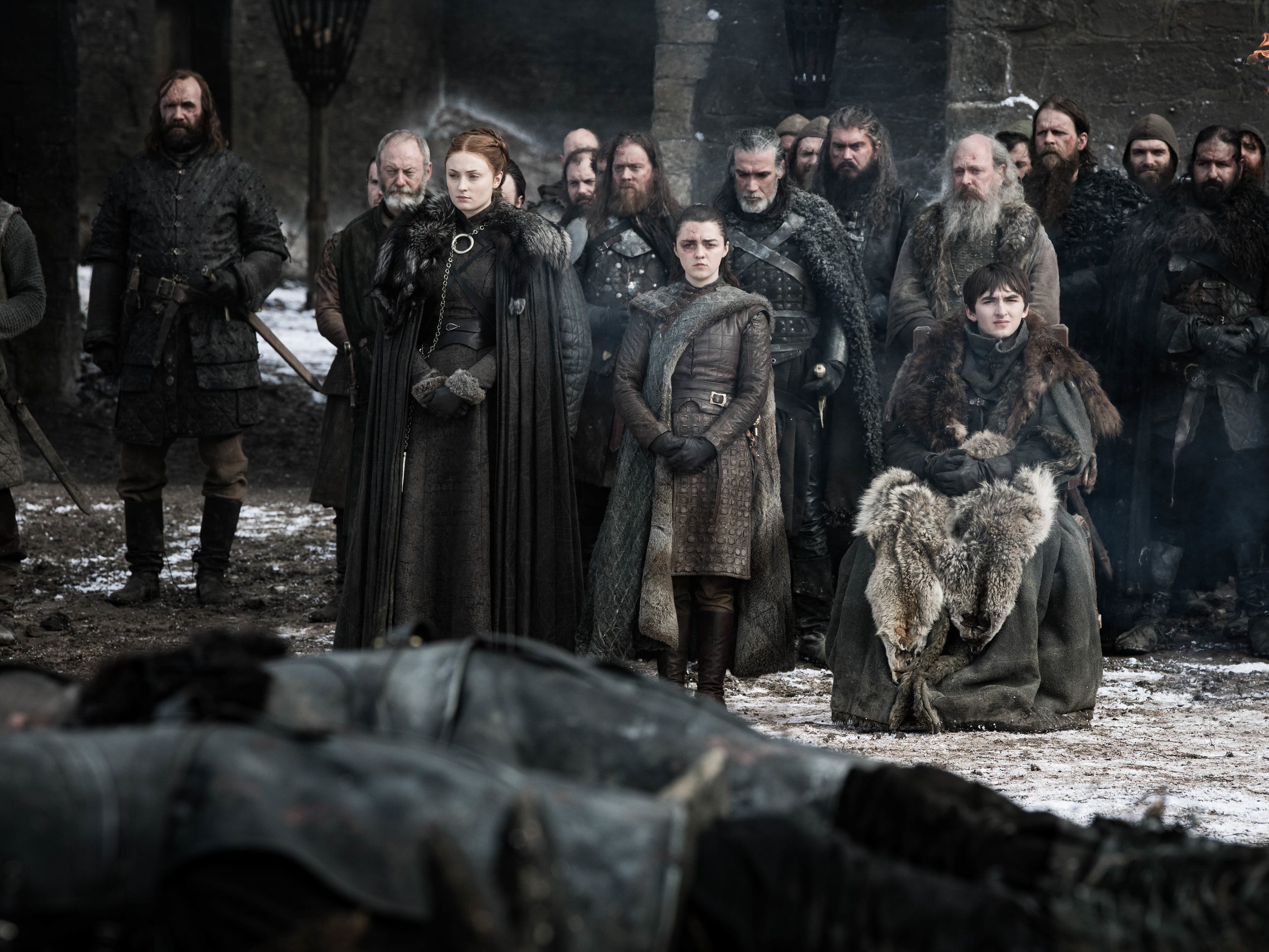 "The Hound (Rory McCann), Davos (Liam Cunningham), Sansa (Sophie Turner), Arya (Maisie Williams) and Bran (Isaac Hempstead Wright) on ""Game of Thrones."""