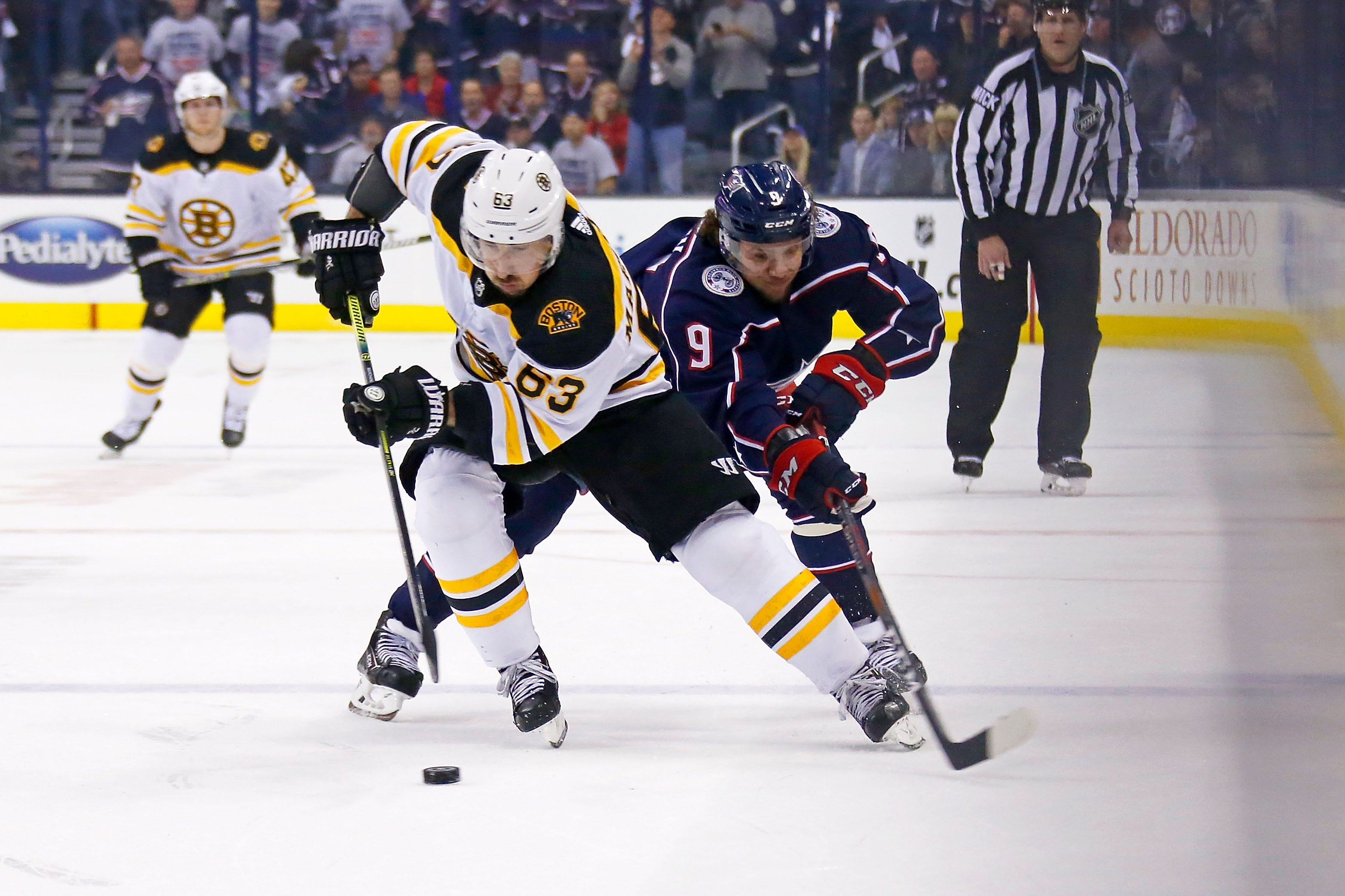 Bruins' Brad Marchand caught on camera delivering cheap shot during loss to Blue Jackets