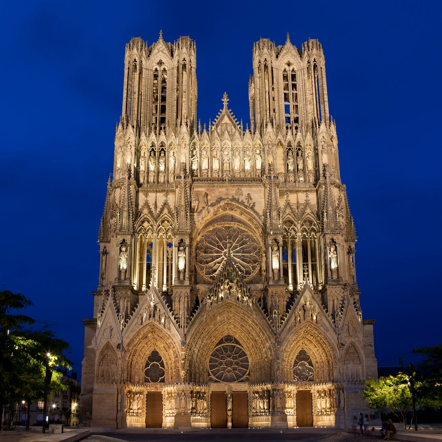 Reims Cathedral in Reims, France: Just north of Paris in the region of Champagne, the Reims Cathedral is about as old as Paris' Notre Dame. Once totally destroyed by fire and rebuilt in 1210, the cathedral suffered even more damage during an English siege a century later, and caught fire again in the year 1481. This most recent fire destroyed the framework, bell tower and roof, but the cathedral was hastily rebuilt. During World War I, the cathedral suffered again when a German attack took out the windows, damaged the facade and set fire to scaffolding. But in about a decade it was rebuilt again, and has been standing tall ever since.